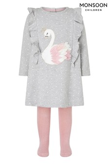 Monsoon Grey Baby Swan Sweat Dress & Tights