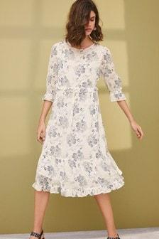 多層皺褶連衣裙