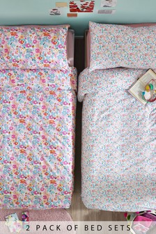 2 Pack Bright Meadow Floral Duvet Cover and Pillowcase Set
