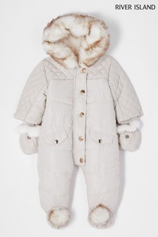 River Island Cream Hooded Pom Snowsuit