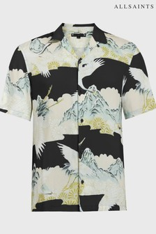AllSaints Black Soaring Printed Shirt