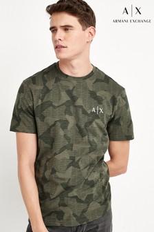 Armani Exchange卡其色迷彩T恤