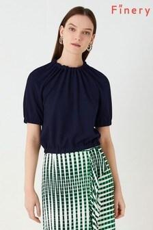 Finery London Blue Clarissa Textured Jersey Top