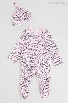 Angel & Rocket Pink Zebra Print All-In-One With Hat