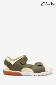 Clarks Rocco Wave Y Sandalen aus Leder, khaki