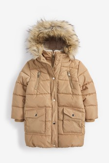 Непромокаемое дутое пальто с искусственным мехом (3-16 лет)