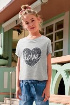 """Футболка с надписью """"Love"""" с блесткой. (3-16 лет)"""