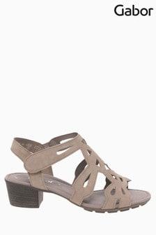 Gabor Grey Holycron Rabbit Suede Sandals