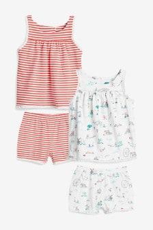 2 Pack Character Smock Top And Shorts Pyjamas (9mths-8yrs)
