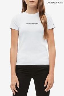 Calvin Klein White Jeans Ribbed Branded T-Shirt