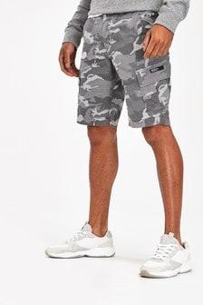 Superdry Shorts mit Tarnmuster, Grau