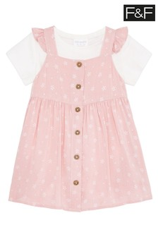 F&F Pink Spot Pinafore Dress