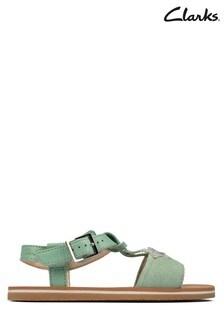 Clarks Light Green Finch Summer Y Sandals