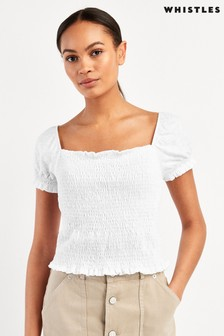 Whistles White Bex Ruched Frill Top