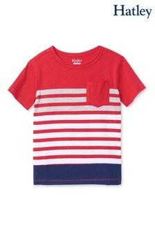 Červené pásikavé tričko Hatley Sunset s vreckom vpredu