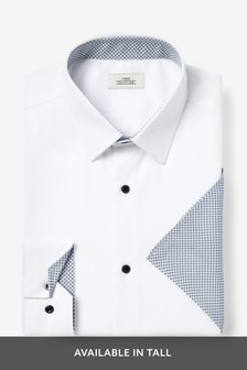 Contrast Trim Shirt And Pocket Square Set