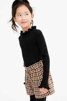 Knitted Rib Frill Neck Top (3-16yrs)