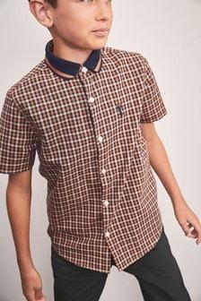 Check Short Sleeve Jersey Collar Shirt (3-16yrs)