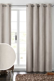 Oatmeal Natural Soft Velour Eyelet Lined Curtains
