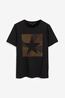 Просторная футболка с коротким рукавом