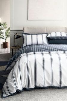 Wendbares Set mit Bett- und Kissenbezügen aus Baumwollsatin mit elegantem Streifenmuster