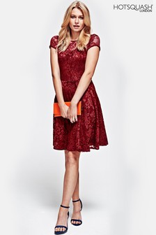 HotSquash Red Lace Fit And Flare Dress