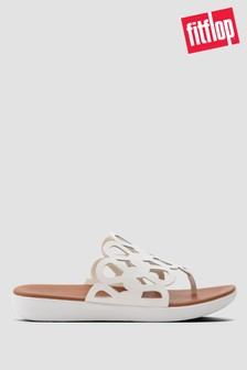 FitFlop™ White Elode Entwined Loops Leather Toe Post Sandals