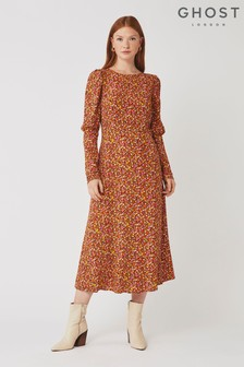 Ghost London Orange Josephine Mixed Daisy Print Dress