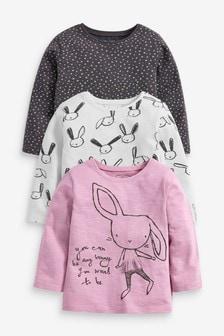 3 Pack Scandi Bunny Long Sleeve T-Shirts (3mths-7yrs)