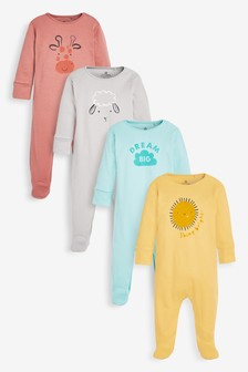 4 Pack GOTS Organic Character Face Sleepsuit (0mths-2yrs)