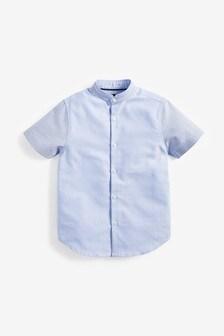 短袖拼色Oxford襯衫 (3-16歲)