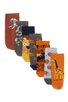 7 Pack Jungle Animal Socks (Younger)