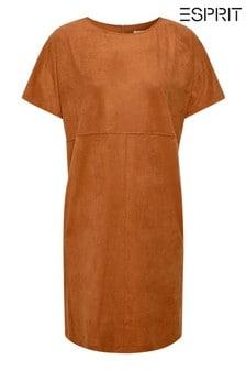 Hnedé strečové šaty Esprit z umelého semišu