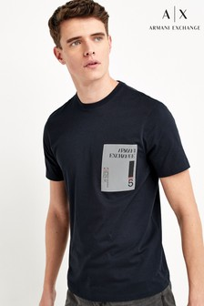 Armani Exchange海軍藍方塊T恤