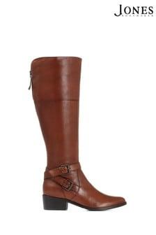 Коричневые кожаные женские сапоги для широкой стопы Jones Bootmaker