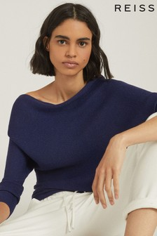 Reiss Blue Maria Metallic Asymmetric Top