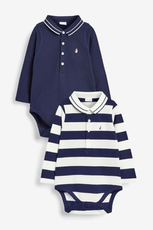 Two Pack Stripe Pique Polo Bodysuits (0mths-2yrs)