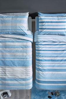Set van 2 blauwe geruite dekbedovertrekken met kussensloop