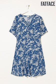 FatFace Blue Ines Windswept Leaves Dress