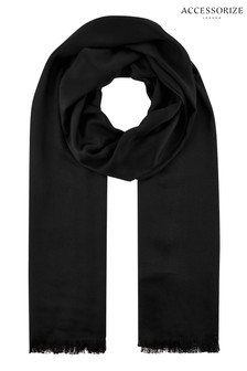 Accessorize Black Plain Woven Scarf