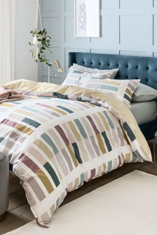 Colourblock Stripe Duvet Cover and Pillowcase Set