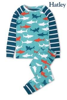 Синий пижамный комплект из органического хлопка с изображением белых акул Hatley