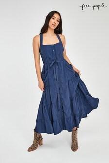 Free People Blue Tiered Midi Dress