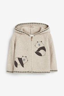 Strickjacke mit Pandadesign und durchgehendem Reißverschluss (0Monate bis 2Jahre)