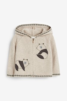 Panda Zip Through Knitted Cardigan (0mths-2yrs)