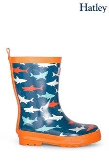 Hatley Blue Great White Sharks Shiny Wellington Boots