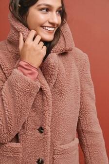 Плюшевое пальто из искусственного меха под овчину