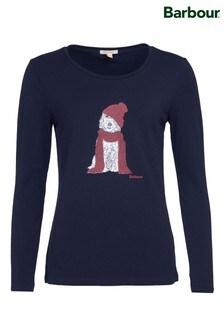חולצת טי שלBarbour® Coastal דגם Fareham בצבע כחול כהה עם הדפס כלב