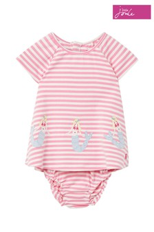 Joules Pink Twiggy Jersey Dress And Knicker Set