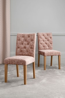 Set Of 2 Moda II Button Dining Chairs With Natural Legs